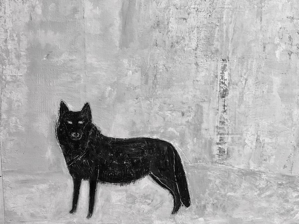 "Black wolf series - the return part 2. Acrylic on canvas, 19"" x 22"", 2019"