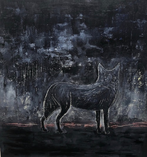 "black wolf series, the return part 4, acrylic on canvas, 24.5"" x 24.5"", 2019"