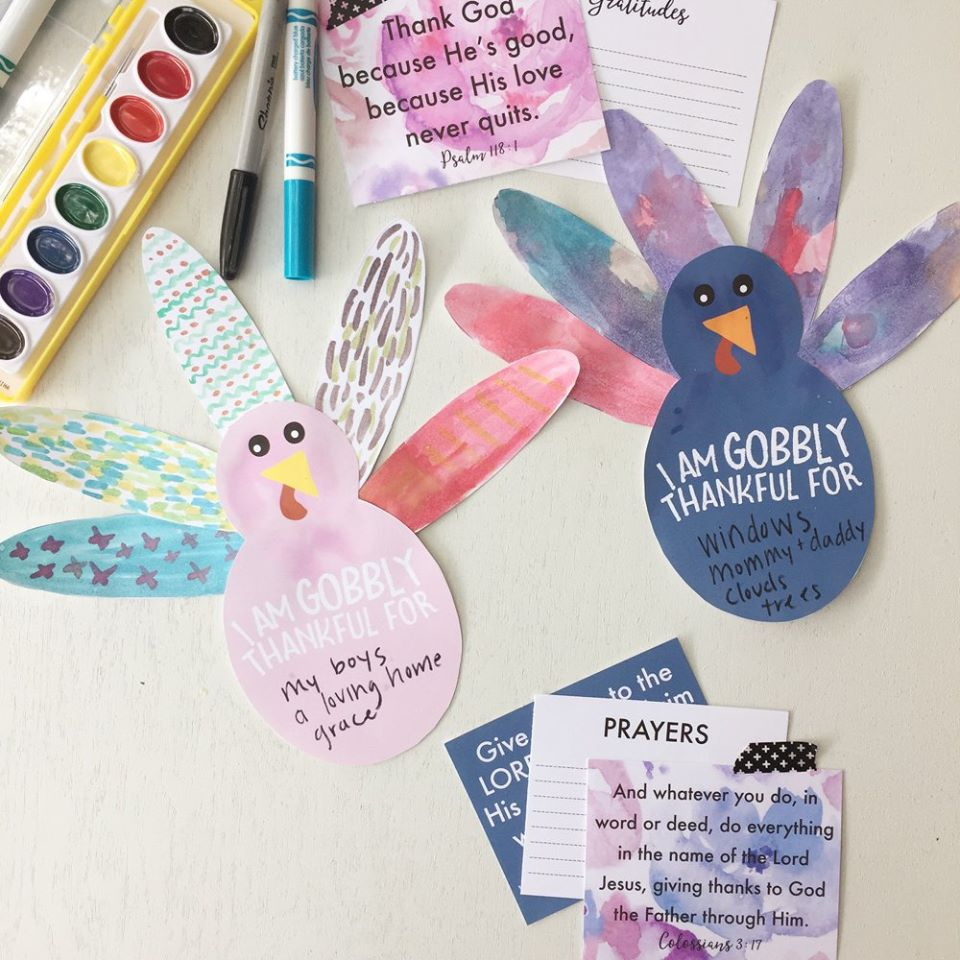 THANKSGIVING printables - Verse cards and thankful turkeys