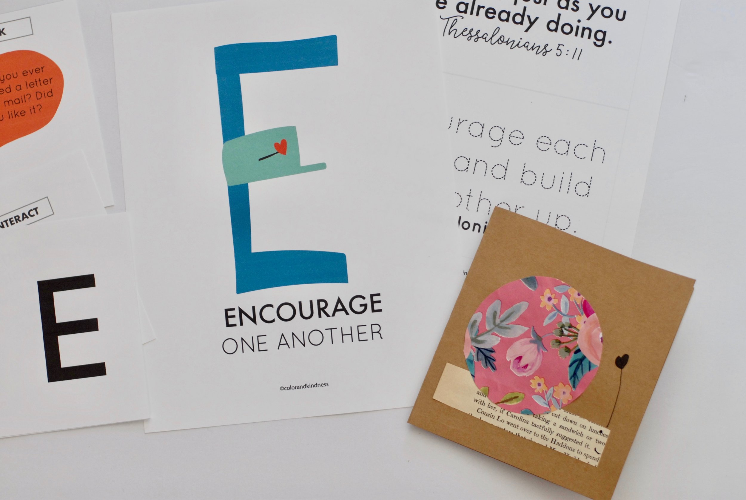 Letter E: Encourage one another, Color + Kindness, Alpahabet Print