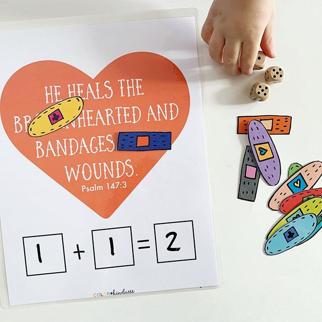 Math + truth ❤️ Have you checked out the game pack yet? We've enjoyed playing all the games + having an opportunity to talk about the Bible too 👍🏻 #feedcreatively #colorandkindness #math #mathforkids #gameschooling #healsthebrokenhearted #bibleforkids #walktalkandteach #mathprintable #kindergarten #addition