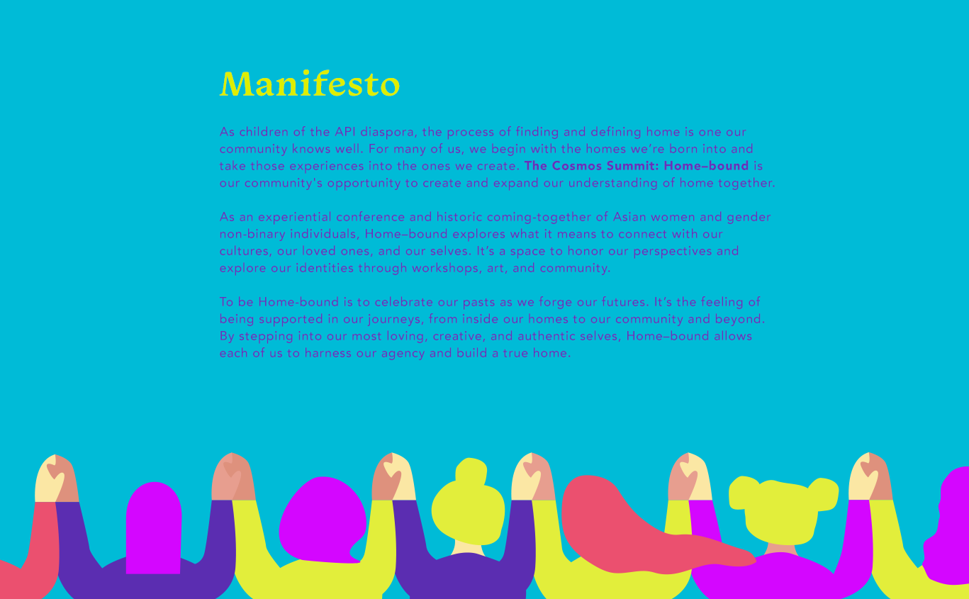Manifesto: The Asian women and gender non-binary individuals opportunity to create and expand our understanding of home together. Explore identities through workshops, art and community.