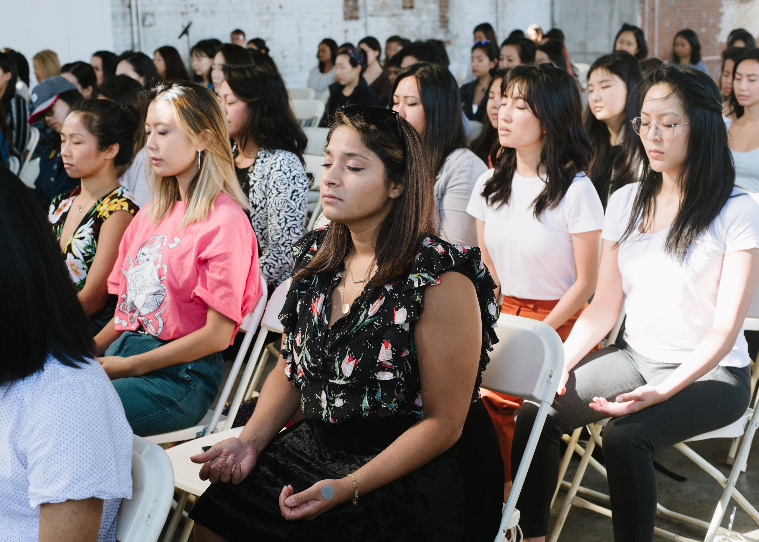 We started the morning with a grounding meditation and breathwork. Together, we set intentions for ourselves and our fellow attendees. Photography by  Kristie Chua .