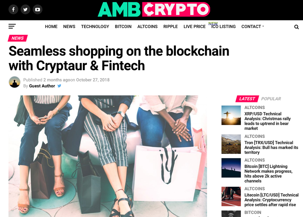 Seamless shopping on the blockchain with Cryptaur & Fintech