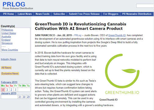 GreenThumb IO is Revolutionizing Cannabis Cultivation with AI Smart Camera Product