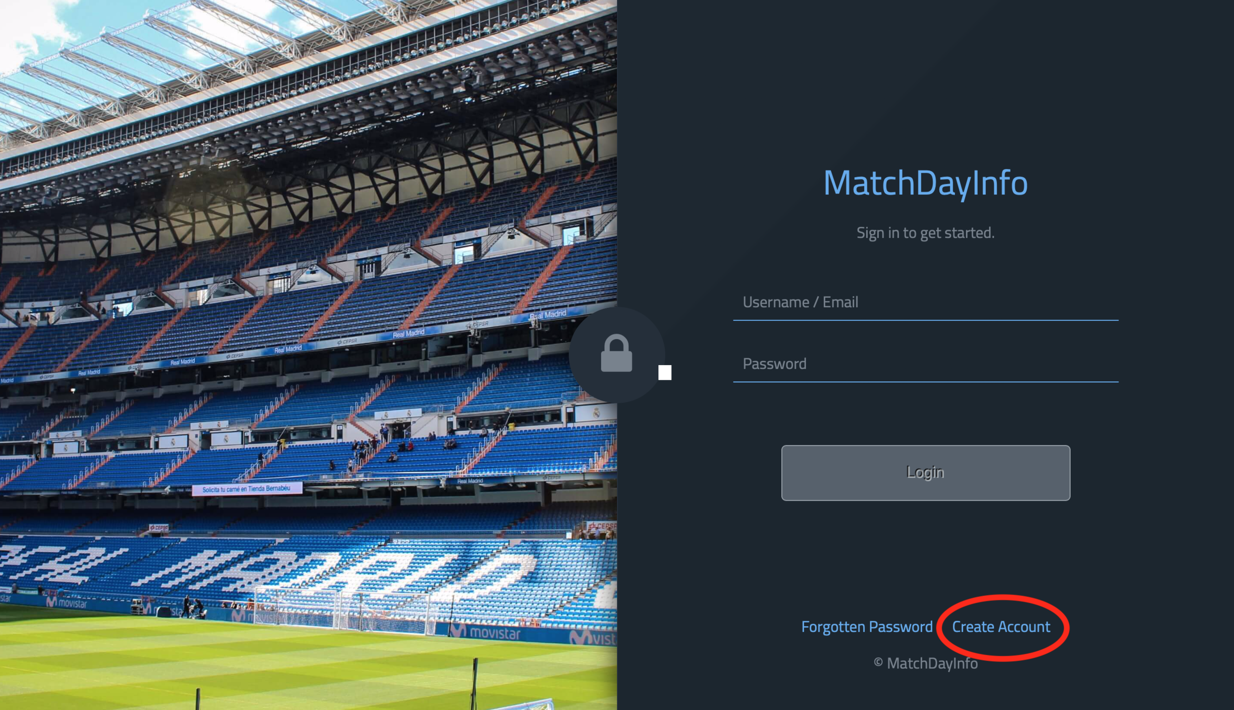 Step 1: Welcome - To find our online dashboard type in app.matchdayinfo.com - this will allow you create an account or to sign in to the MDI dashboard.If you are creating an account, click on the 'Create Account' link at the bottom of the page.