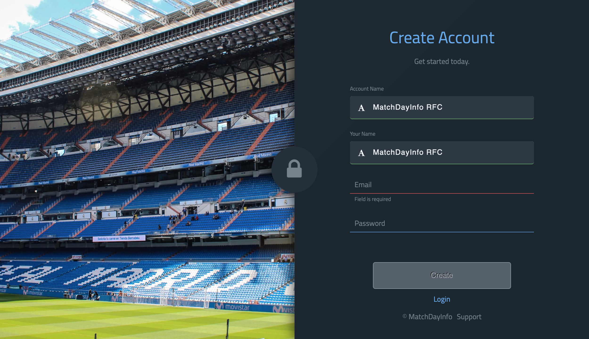 Step 2: Create Account - To create an account fill in the four empty boxes and click on the 'Create' button. We will need to verify your account from our end which usually takes a few moments. If you don't receive a verification email please get in touch (info@matchdayinfo.com).