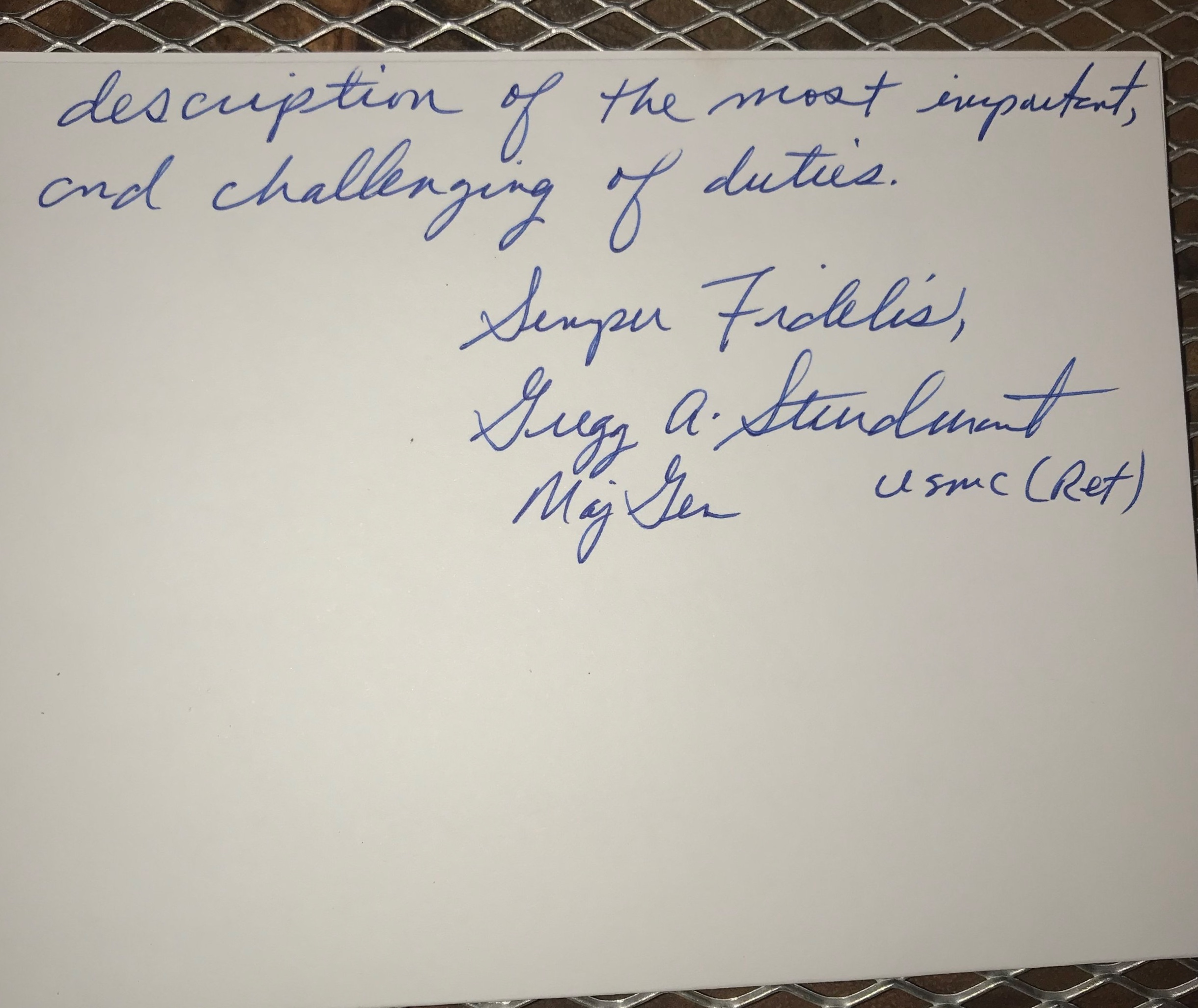 A thank you letter from MajGen Gregg A. Sturdevant USMC (ret) #2