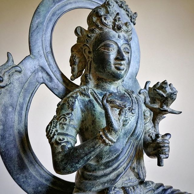 "Indonesian Tara, here she holds the Lotus of Wisdom - made of bronze, brass, and copper, she sits 15"" tall #goddesstara #indonesia #aspen"