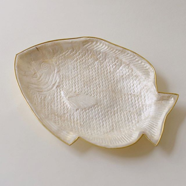 New in: capiz mother of pearl shell fish plate - 1960s with gold trim - from @shop_otherwise #intricate #detail #lovely #aspen
