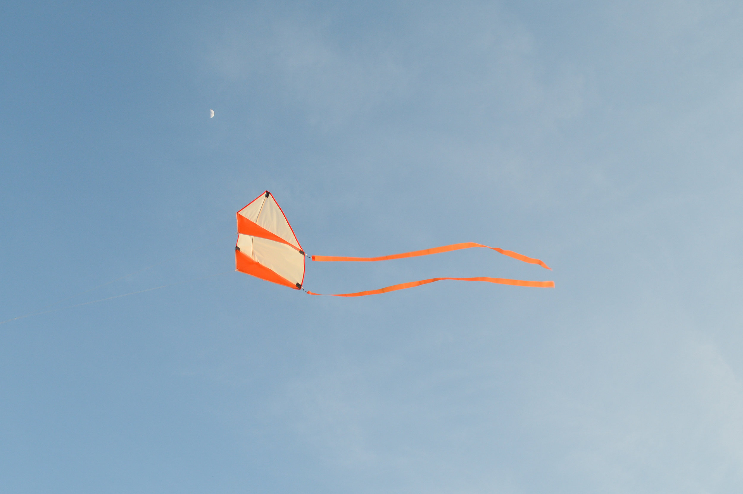 Little kite chases day moon.