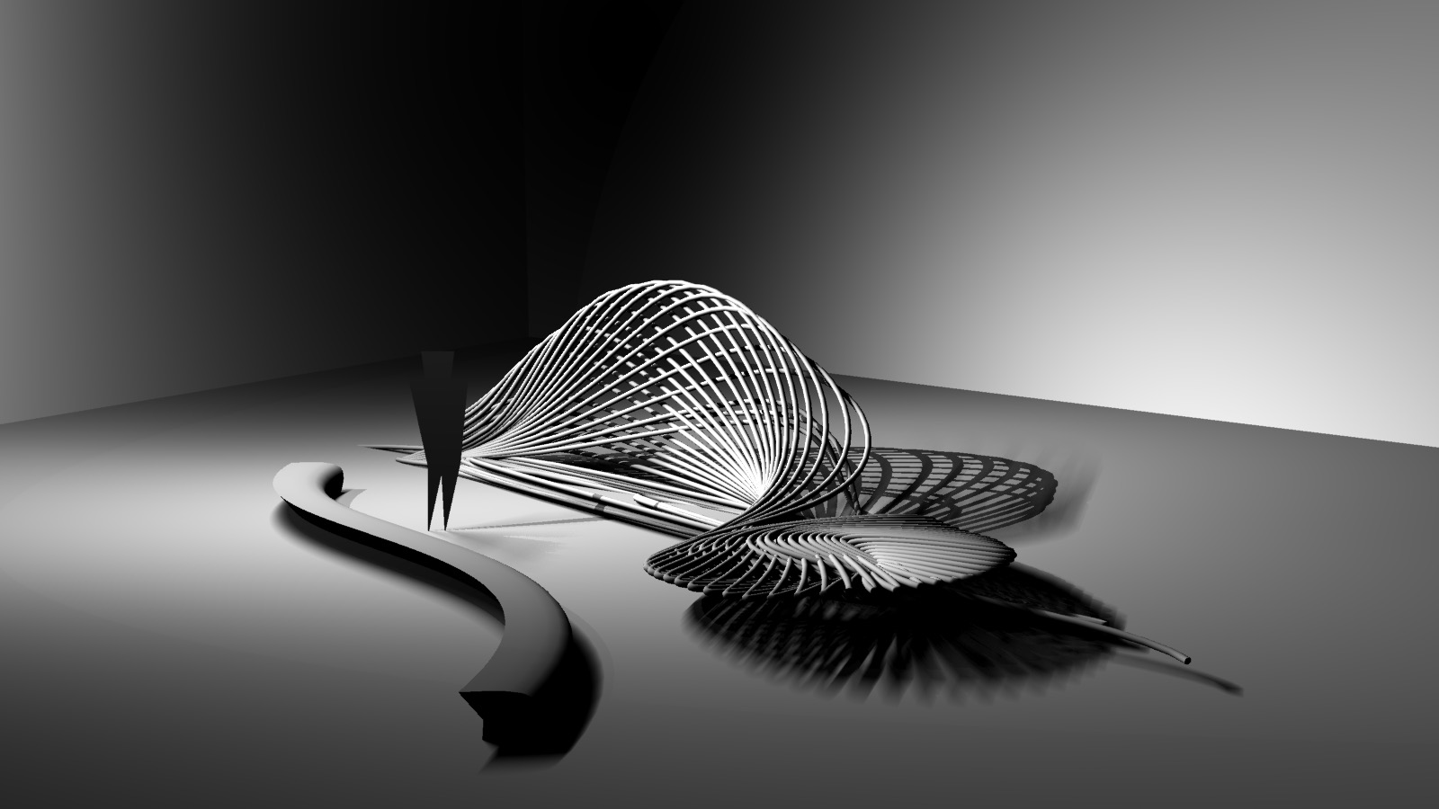 Rendering done by Eli Silver of our bench design derived from the captured cartwheel data points.