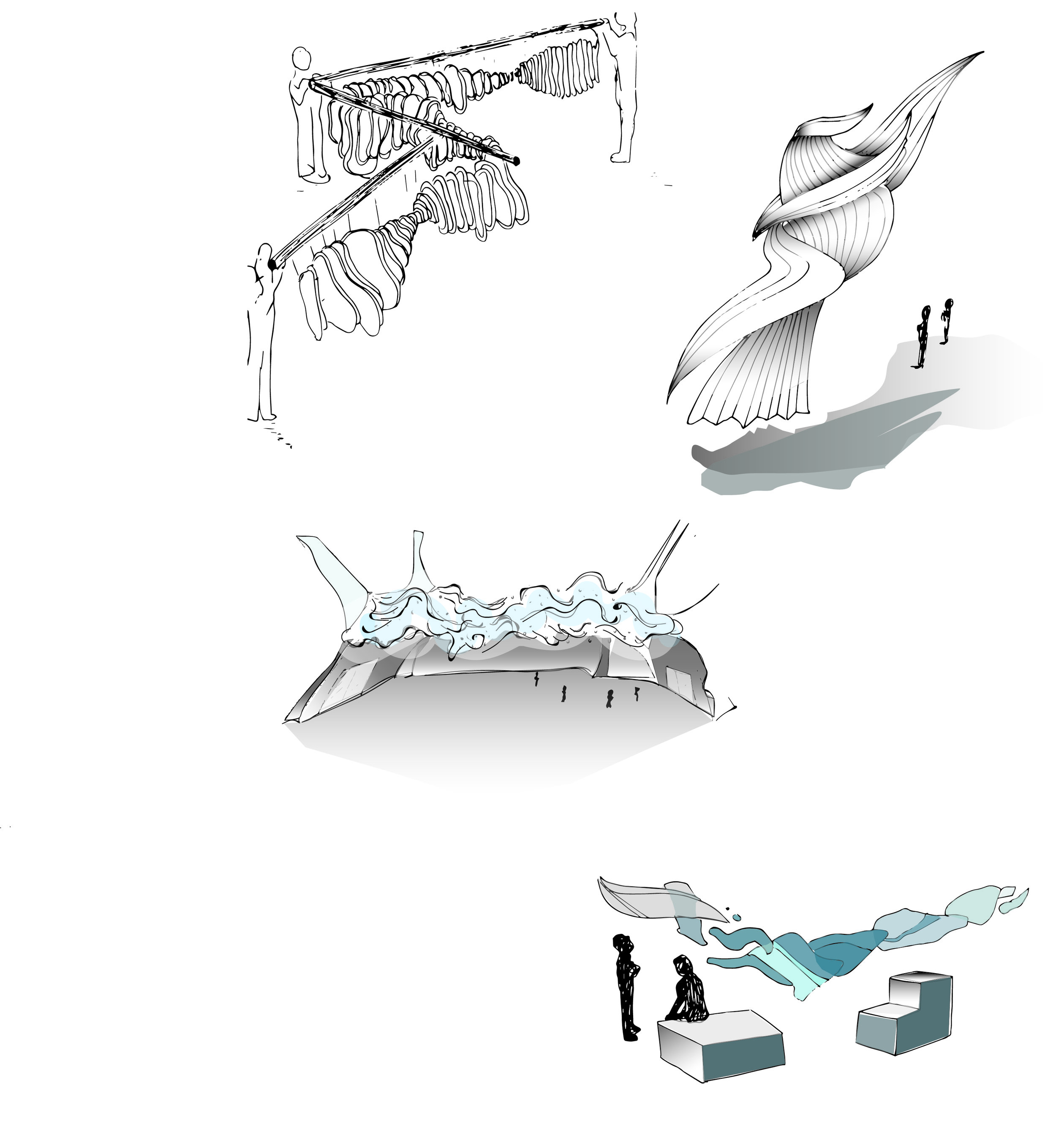 Quick Concept sketches for future movement-based installations.