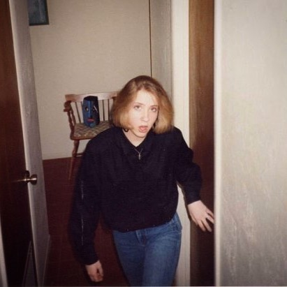 Guys, this is a picture of teenage Jen coming up the very stairs she would later climb in order to determine what was causing the undulating shadow we all saw cast on the wall that day (the very wall next to her outstretched left hand there in this photo). Listen to the latest episode, The Ghosts I've Known, just posted at the link in the bio. #mostlytrue #ghosts #ghoststories #podcastin