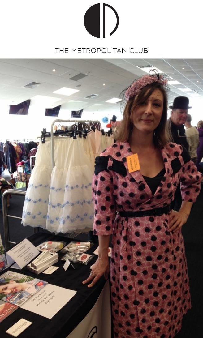 Selling vintage at the Vintage Textile Fair