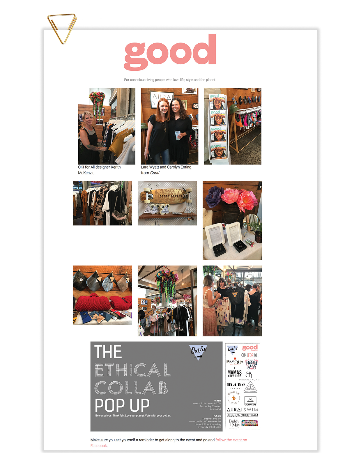 GOOD MAGAZINE | www.good.net.nz | On now: The Ethical Collab Pop Up | Wednesday 13th March 2019   https://good.net.nz/article/ethical-collab-pop-up