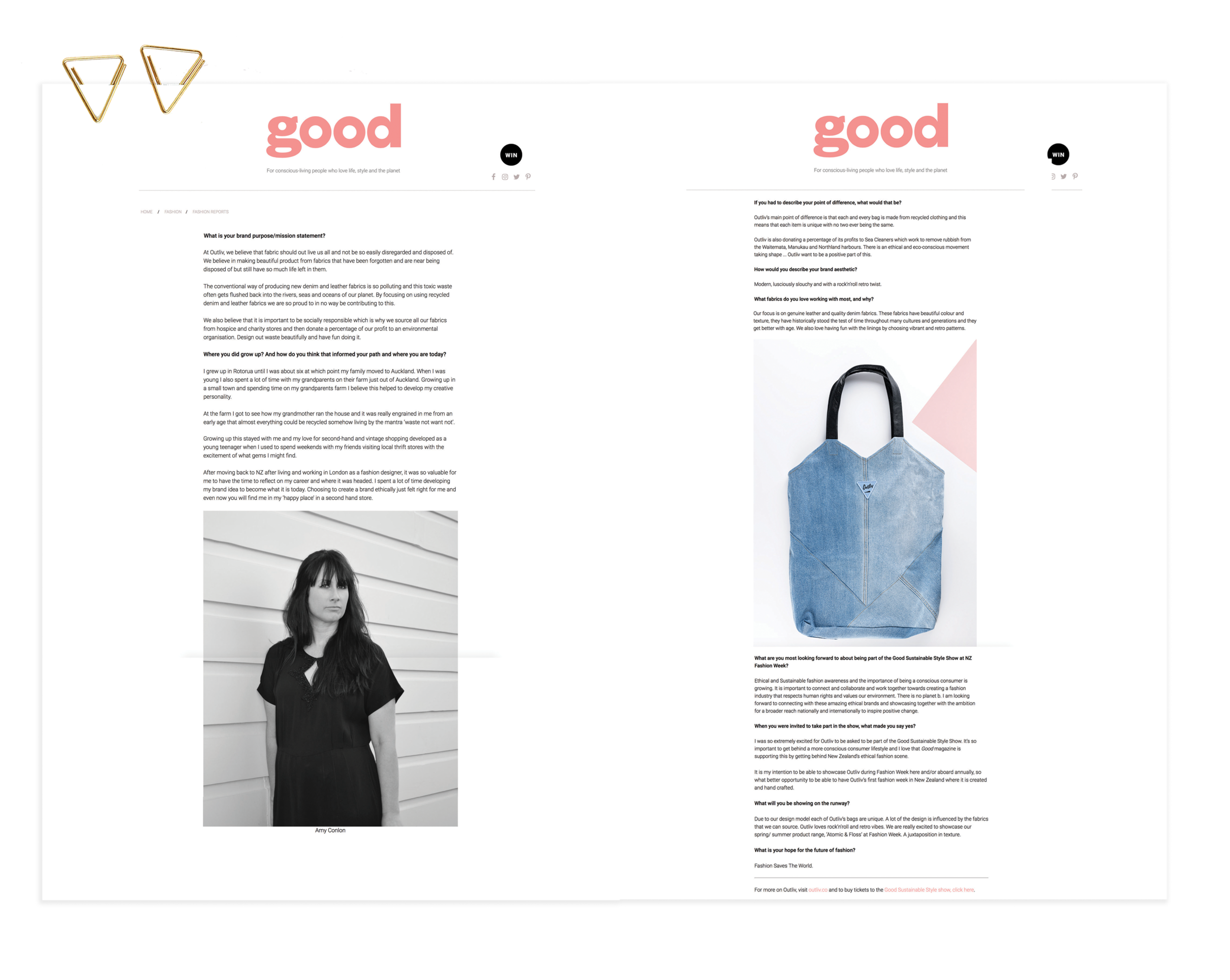 GOOD MAGAZINE | www.good.net.nz | Waste not want not: A chat with Outliv's Amy Conlon (pg2) | August 2018   https://good.net.nz/article/outliv