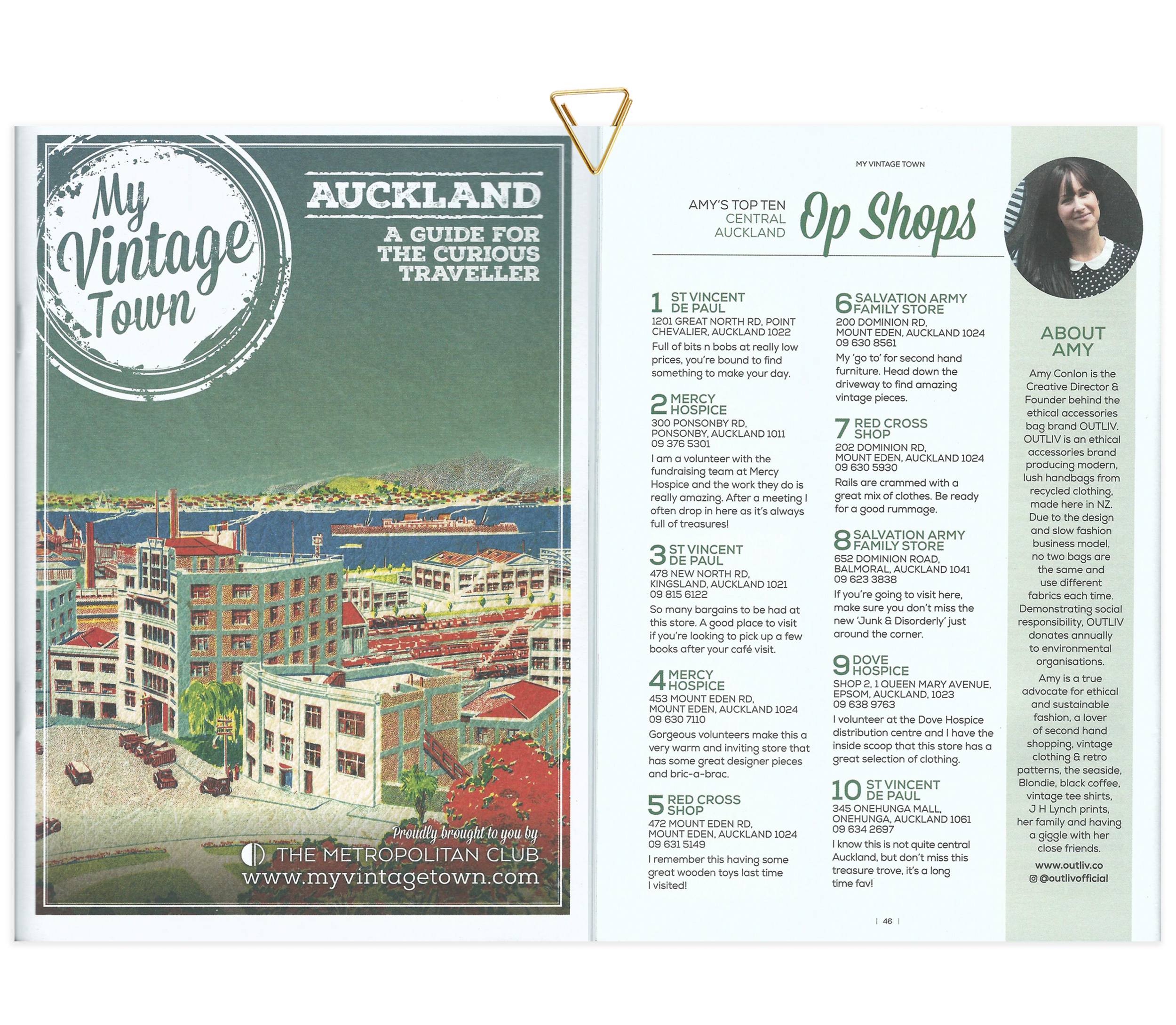 MY VINTAGE TOWN Auckland Guide | www.myvintagetown.com | Amy's Top Ten Central Auckland Op Shops | Print Issue Nov 2018