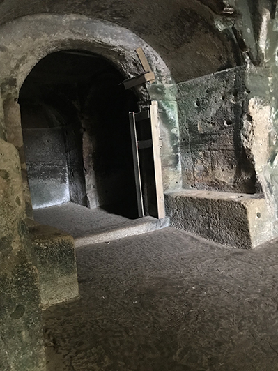 The cave of Sibyl. Seekers would wait on those benches for her to come out of her cave with her prophecy.