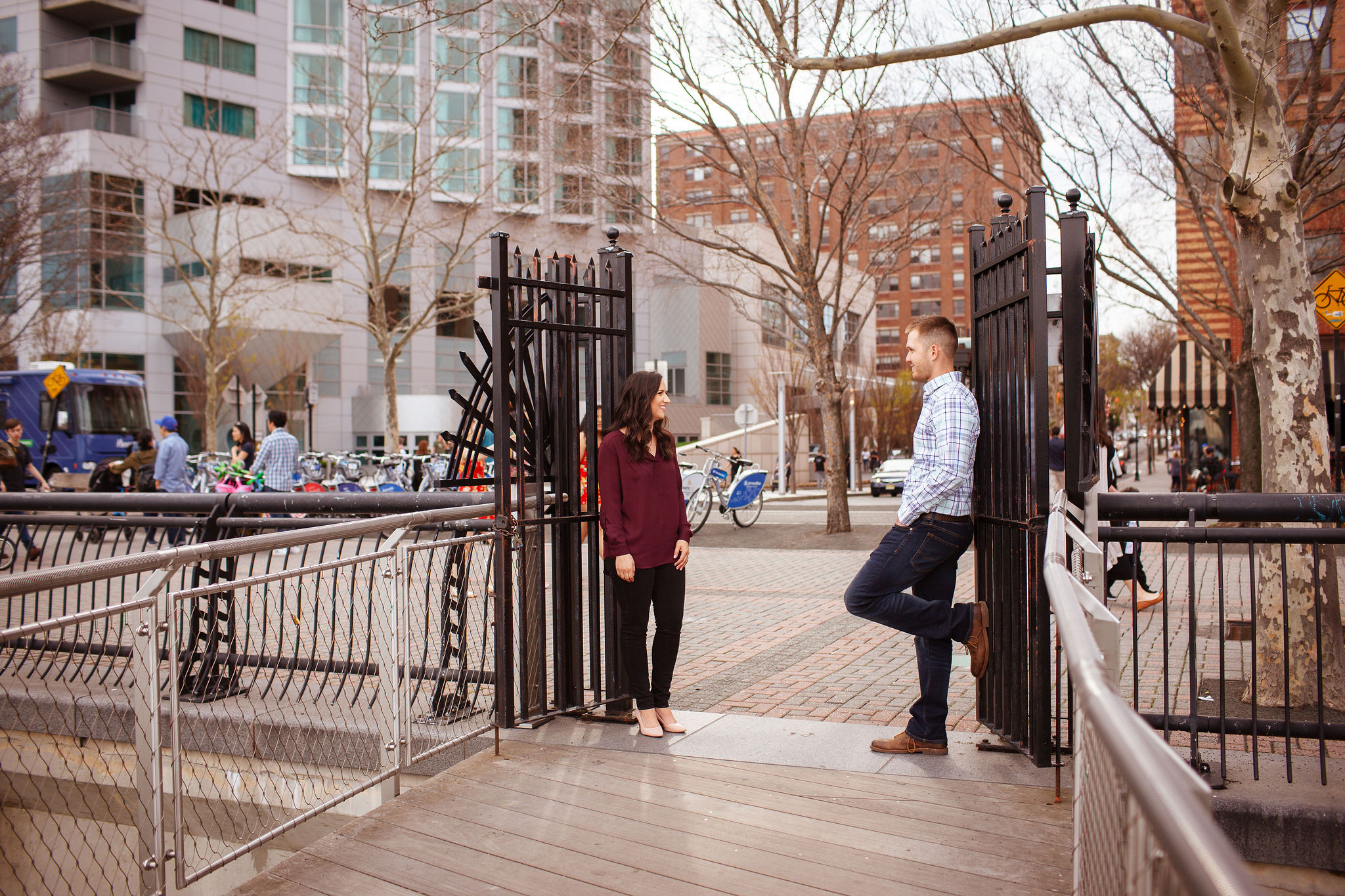 hoboken couple engagement pier c