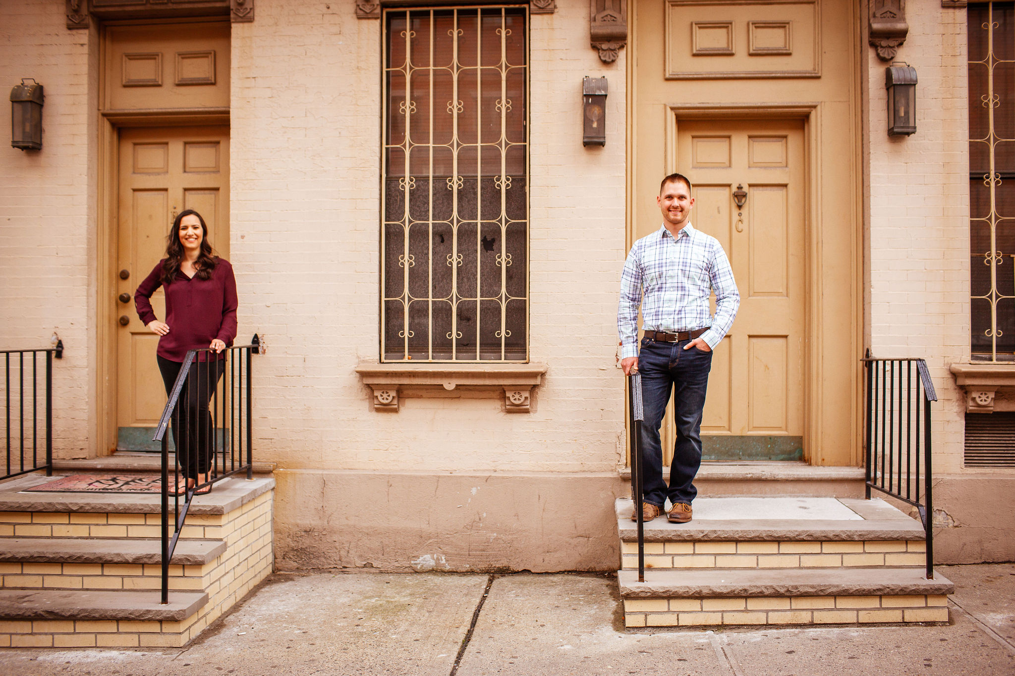 Hoboken couple engagement brownstone