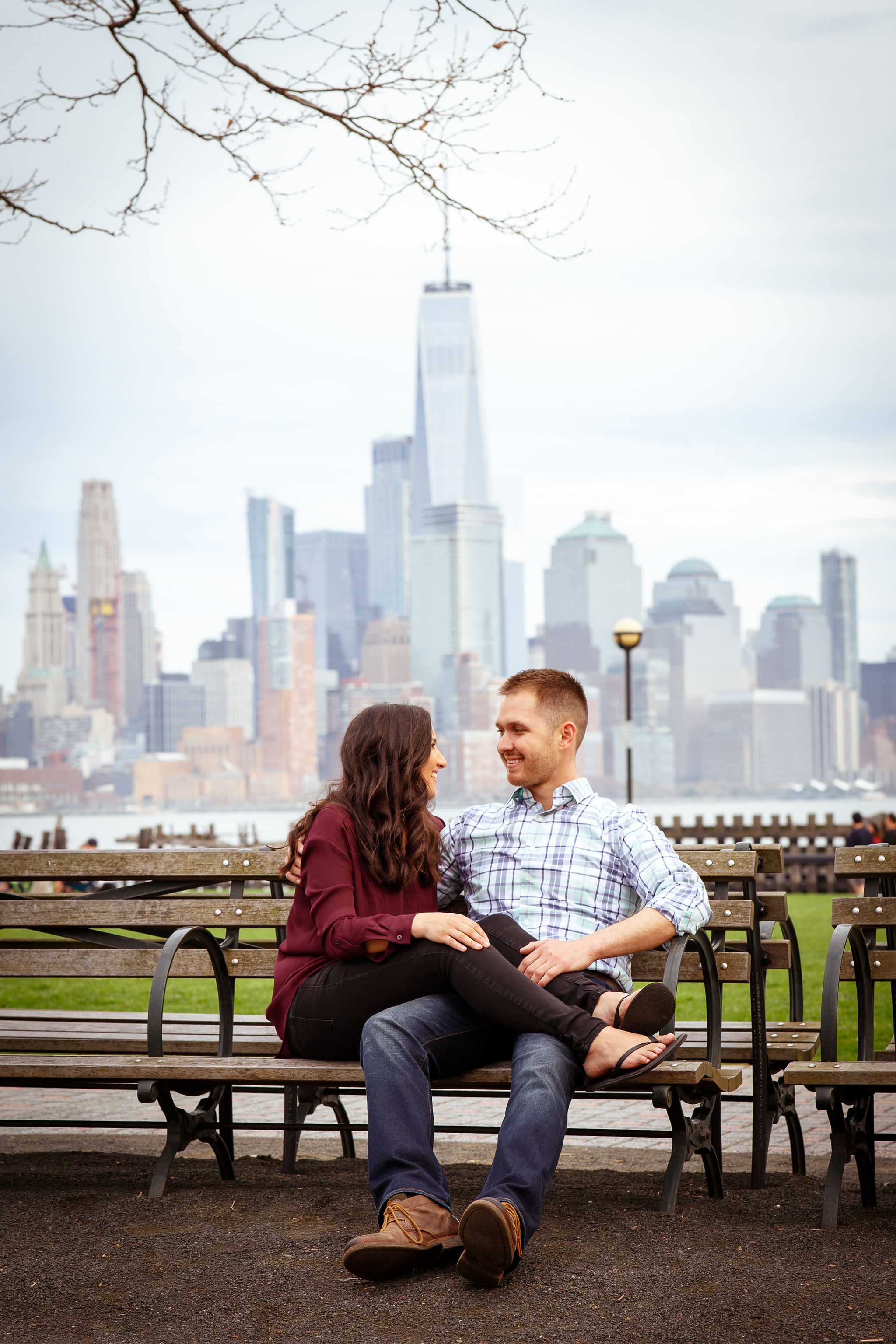 engagement session hoboken nyc skyline