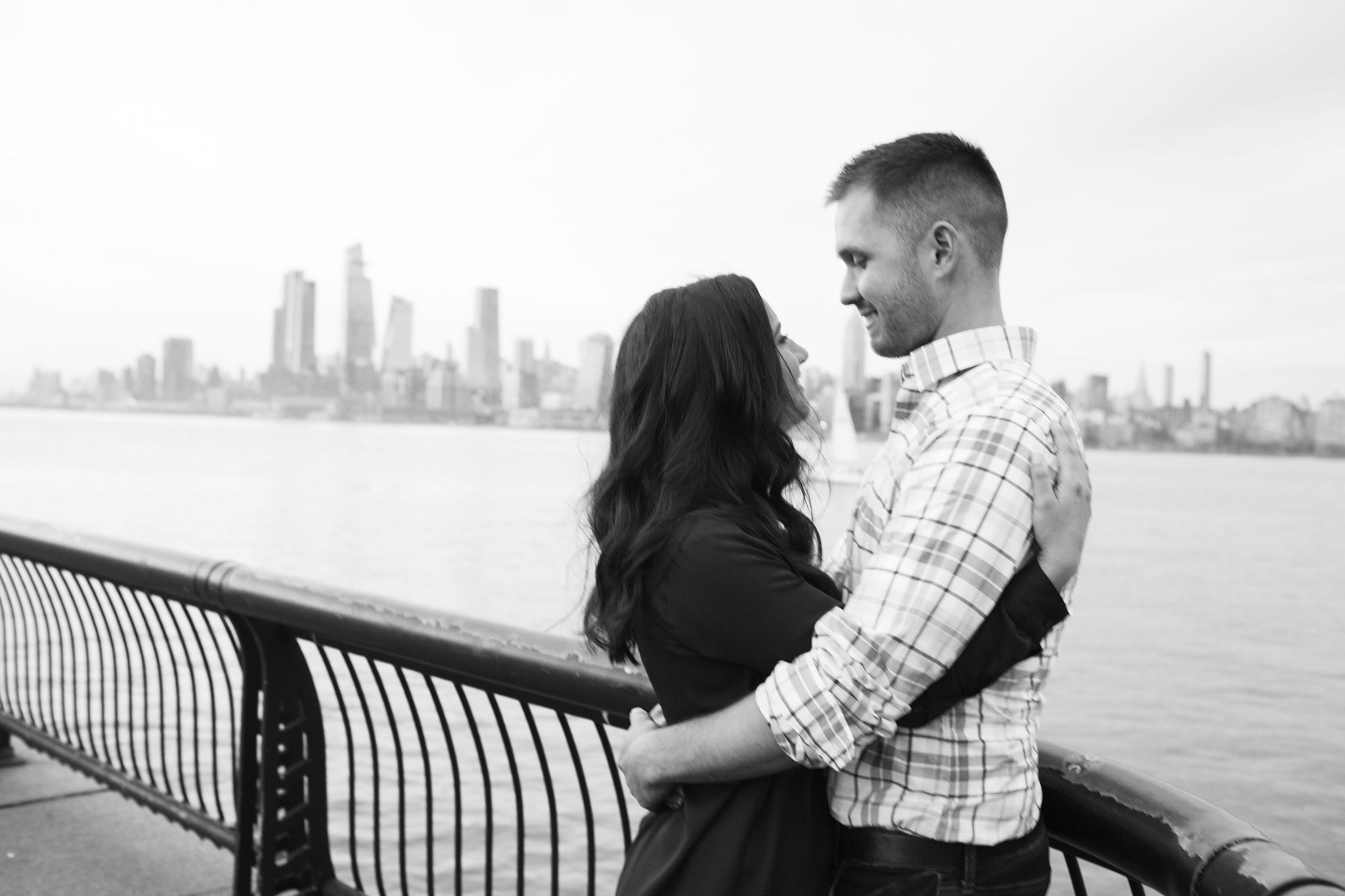 hoboken waterfront hug engagement