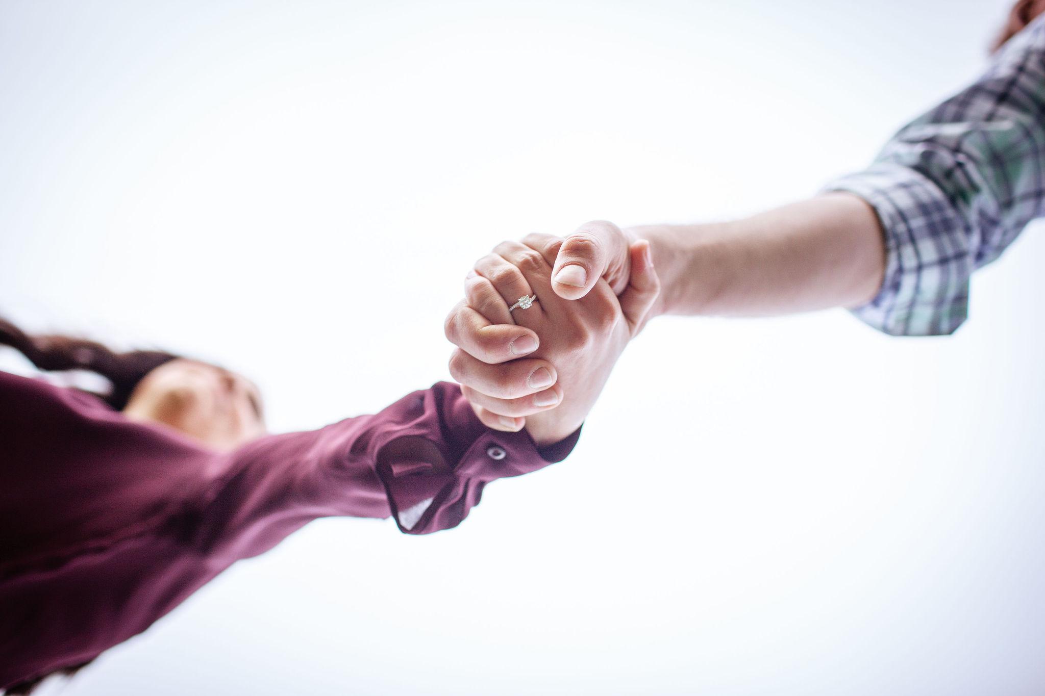 hoboken engagement hand holding