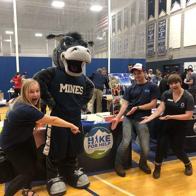 Mines Hike for Help had a great time speaking with prospective students at the involvement fair! And a special thank you to Blaster for stopping by our table for a group photo!