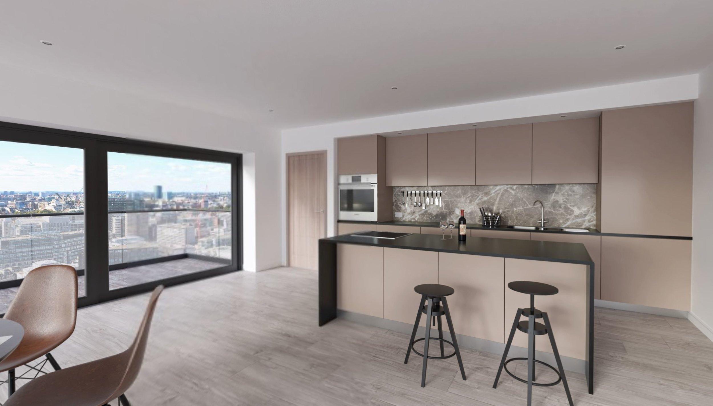 Contemporary simplistic kitchen design in a London apartment