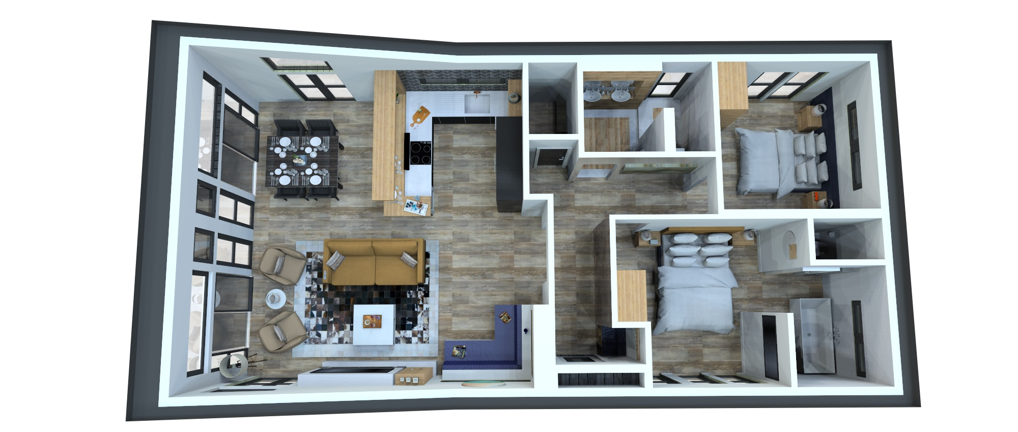 Copy of Internal bird's-eye view showcasing open-plan living in a high-end holiday home