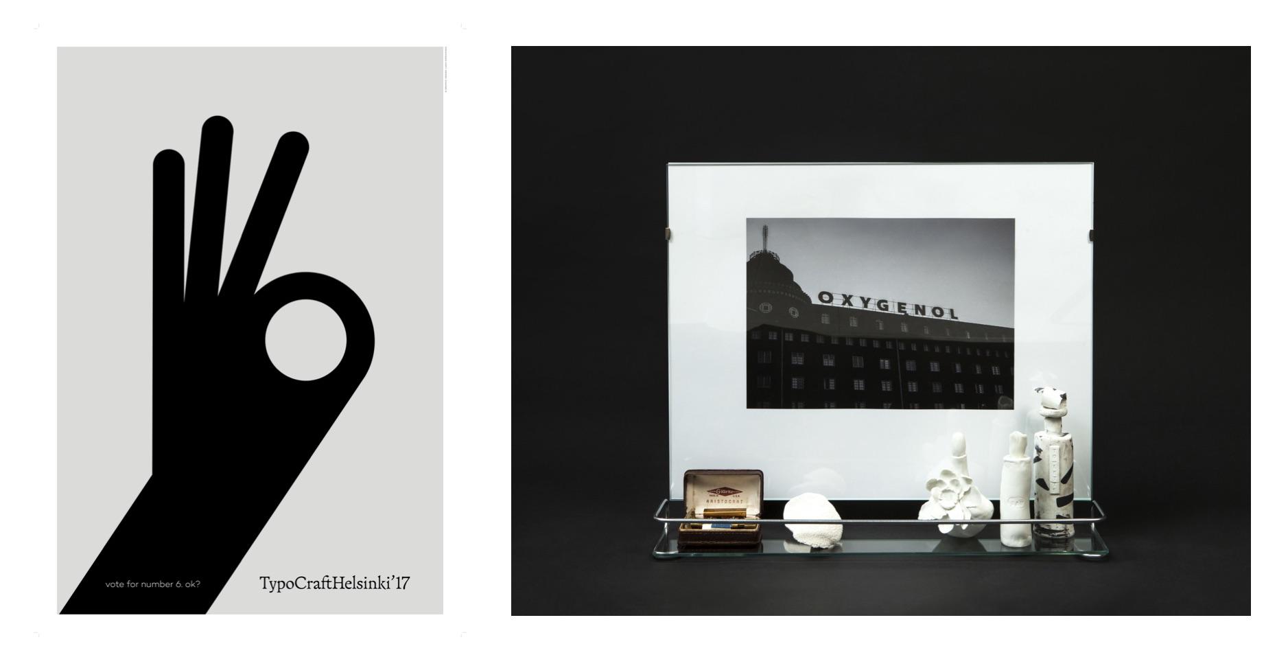 """Teokset TypoCrafthelsinki -näyttelyyn. Vasemmalta oikealle: """"Vote for number""""– juliste, """"Eau de toilette"""" 2017, yhdessä Veera Kuljun kanssa."""