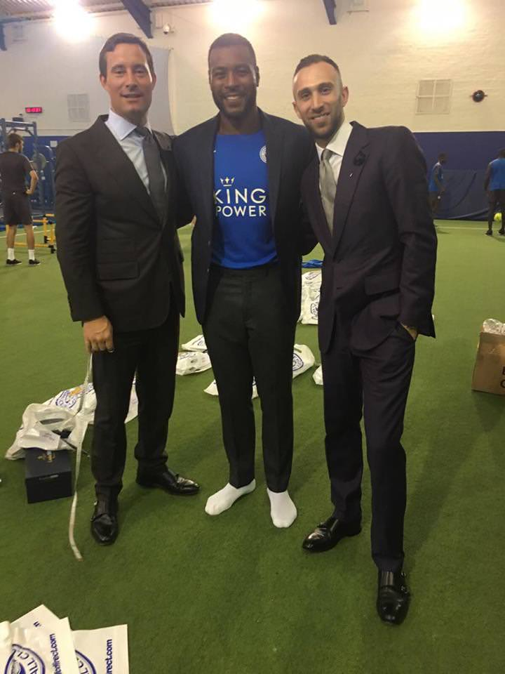 Alex and Neil with team captain Wes Morgan.