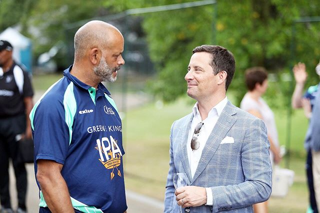 Our founder, Neil McCann chatting with ex-professional cricketer Dean Headley last Thursday at the PCA Summer Garden Party.  #mccannbespokelondon #cricket #bespoketailoring