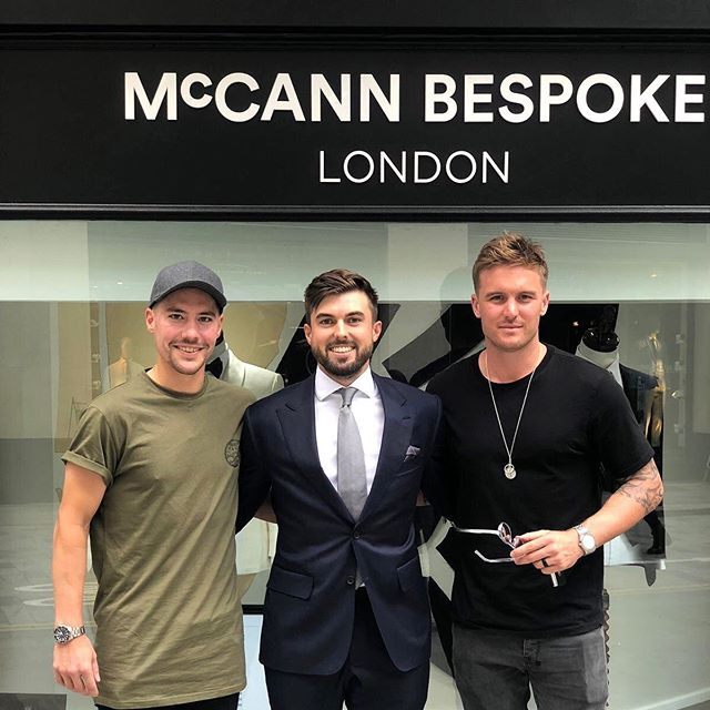 Let's go England! 🏏 🏴󠁧󠁢󠁥󠁮󠁧󠁿 • Our clients Jason Roy and Rory Burns dropped by our flagship store on Lime Street this Tuesday for some retail therapy before the 2nd Ashes Test Match at Lord's today. •  #mccannbespokelondon #McCannMan #englandcricket