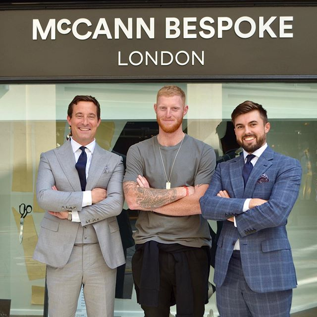 Another England cricket legend! 🏏 •  Pleasure to have the legend and World Cup winning Ben Stokes in the store the day after he scored a Test century for England against Australia on the final day of the second Ashes Test at Lord's. •  We will be watching the next match on Friday!  #mccannbespokelondon #McCannMan #englandcricket