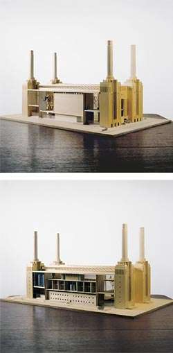 Picture of the model of  Battersea Bee Station , 'Paul Etienne Lincoln,' accessed on October 6, 2018, http://www.sienese-shredder.com/1/paul_etienne_lincoln-the_lure_and_draw_of_honeys_metaphoric_energy_transfer.html