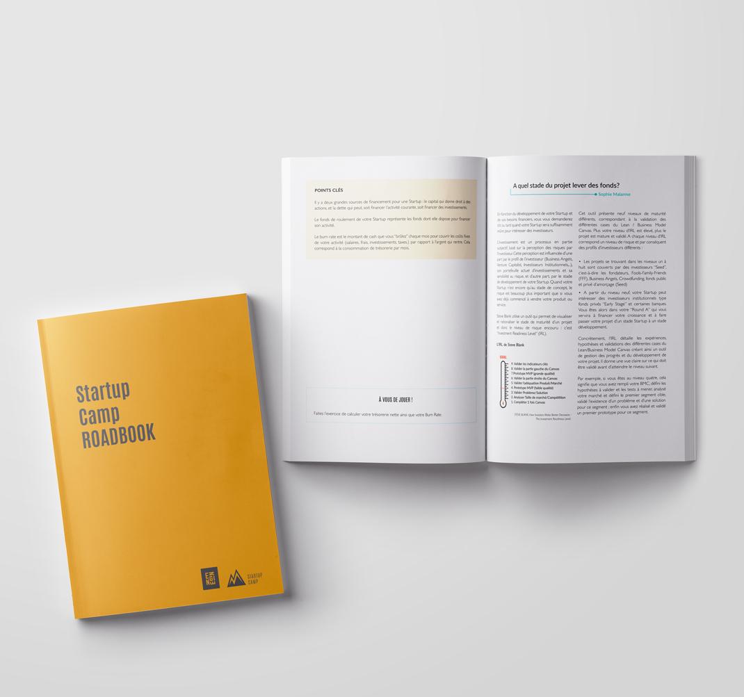 Roadbook  Véritable carnet de route, ce roadbook a été conçu afin de pouvoir être utilisé de façon différenciée en fonction de l'évolution des besoins de votre startup. Chaque partie peut être lue de façon indépendante en fonction des questions auxquelles votre startup est confrontée.