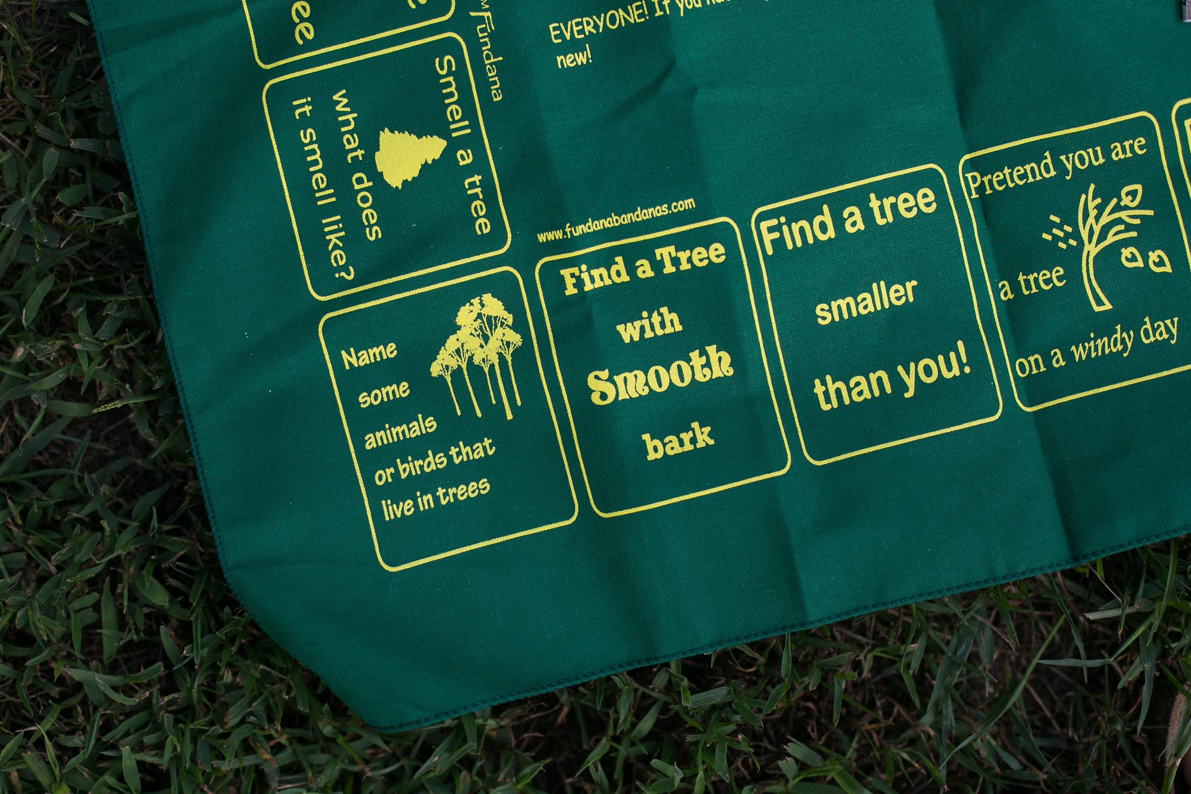 """Tree-themed """"Fundana"""" activity bandana, featured in the Wonderkin Tree Box"""