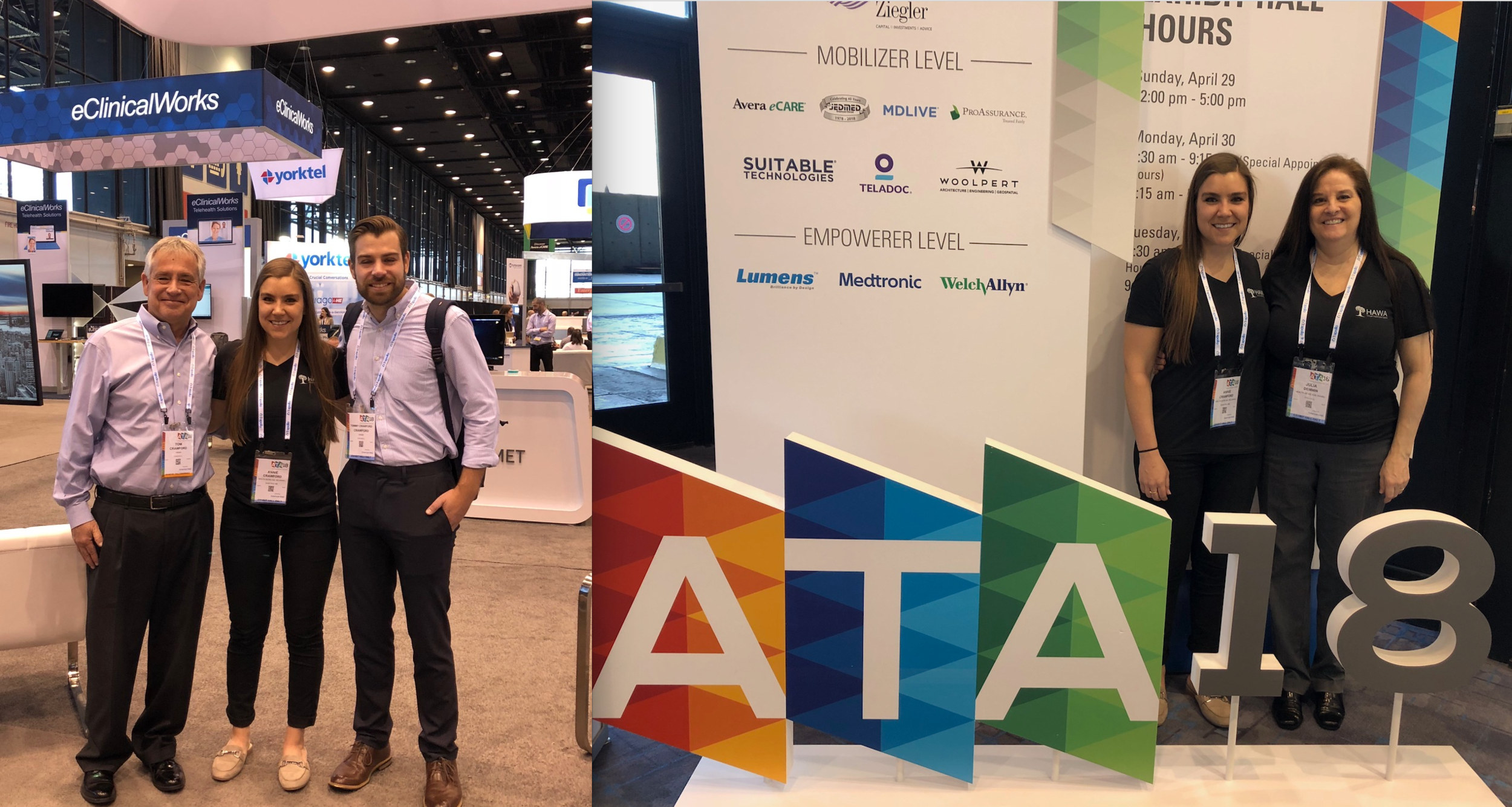 The HAWA Team was amazed to see how much the #ATA conference had grown over the last few years. Many industry leaders were networking, brainstorming and projecting the future of #Telehealth!