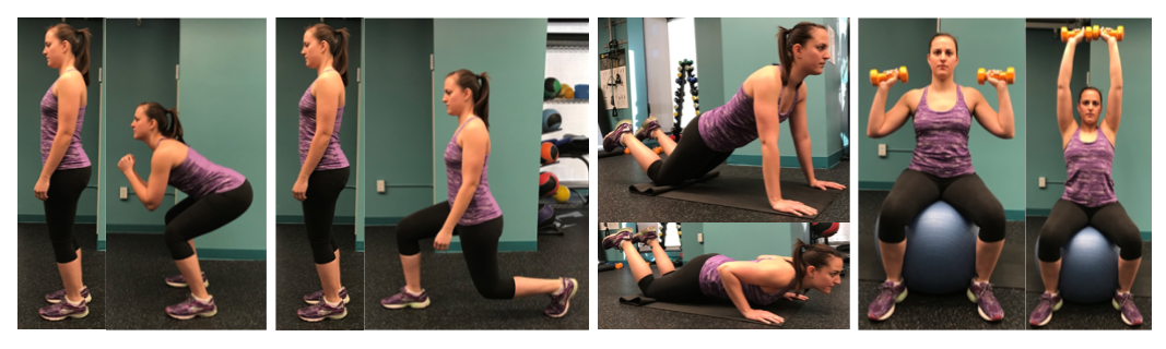 Strength Exercises from left: Squat, Lunge, Push-up, Overhead Shoulder Press.