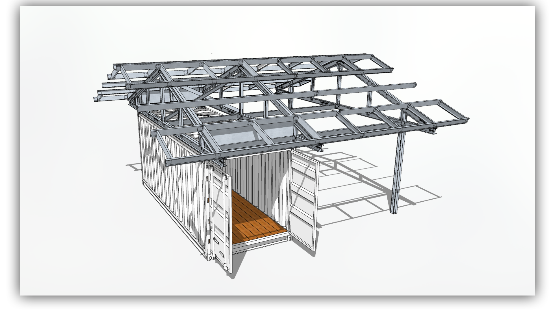 Assembly - After delivery, the frame is quickly assembled and attached to the shipping container to provide a stable platform for a variety of humanitarian development needs. The frame has a 100 year life-cycle and can be disassembled, relocated, and repurposed for multiple projects in multiple locations.