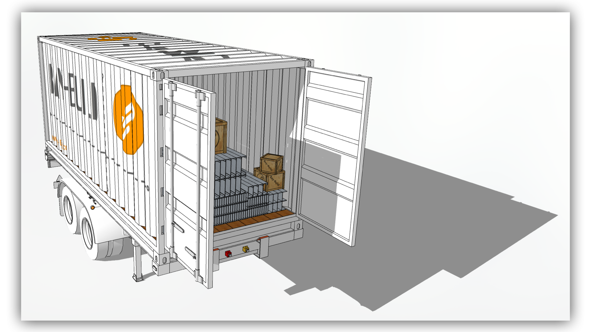 Delivery - The frame is securely delivered using a standard shipping container. All components, tools, and instructions are provided using certified suppliers. The Bay-Build system acts as a chain of custody instrument for ensuring quality and providing supply-chain transparency during the development process.