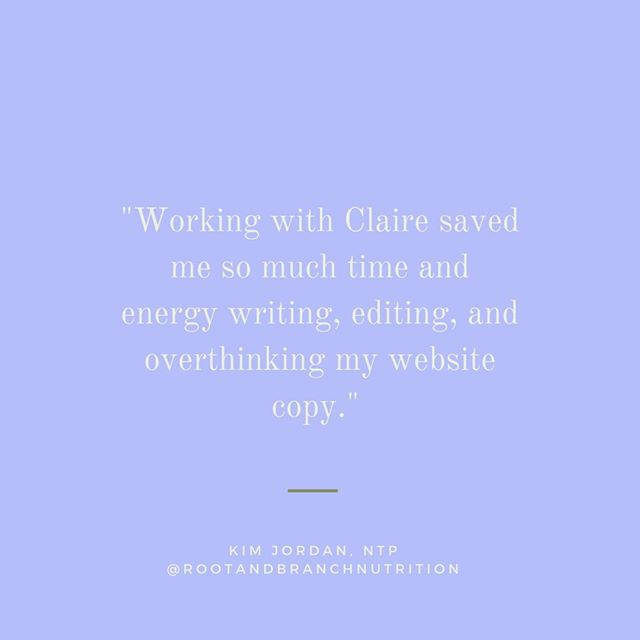 "✨TESTIMONIAL✨⠀⠀⠀⠀⠀⠀⠀⠀⠀ ⠀⠀⠀⠀⠀⠀⠀⠀⠀ Kim @rootandbranchnutrition came to me for help in the middle of a website rebrand. We upgraded her message and refined her website copy so she could launch with everything in place. ⠀⠀⠀⠀⠀⠀⠀⠀⠀ ⠀⠀⠀⠀⠀⠀⠀⠀⠀ ""I was worried about hiring a copywriter, but Claire wrote really powerful copy that actually sounds like me. She gave me clarity on my target audience and how to talk to them, and I feel so much more confident in my business and services.""⠀⠀⠀⠀⠀⠀⠀⠀⠀ ⠀⠀⠀⠀⠀⠀⠀⠀⠀ Go visit Kim at @rootandbranchnutrition and check out her beautiful site and branding, designed by @ember29studio!⠀⠀⠀⠀⠀⠀⠀⠀⠀ ⠀⠀⠀⠀⠀⠀⠀⠀⠀ Psst: if you're staring at a blank document titled ""website copy,"" it might be time to reach out for help. I'm booking for July!⠀⠀⠀⠀⠀⠀⠀⠀⠀ .⠀⠀⠀⠀⠀⠀⠀⠀⠀ .⠀⠀⠀⠀⠀⠀⠀⠀⠀ . ⠀⠀⠀⠀⠀⠀⠀⠀⠀ #creativeentrepreneur #creativeentrepreneurs #mycreativecommunity #creativebusinessowner #createcultivate #creativebusiness #creativecontent #creativebiz #creativethinking #bossladymindset #smallbusinesssupport #creativebusinessowners #mycreativebusiness #creativeatheart #livecreative #mycreativebiz #womenindigital #freelancelifestyle #ohwowyes #createcultivate #dontquityourdaydream #solopreneurs"
