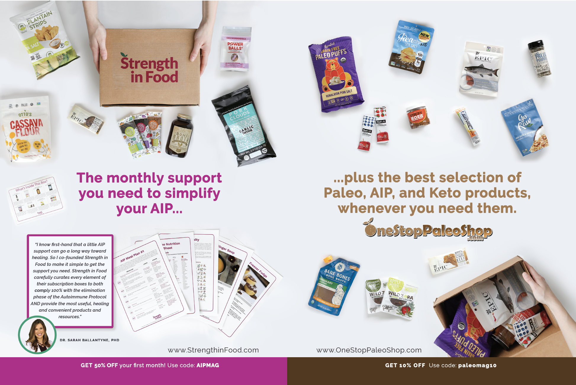 A print ad published in Paleo Magazine's special AIP edition.