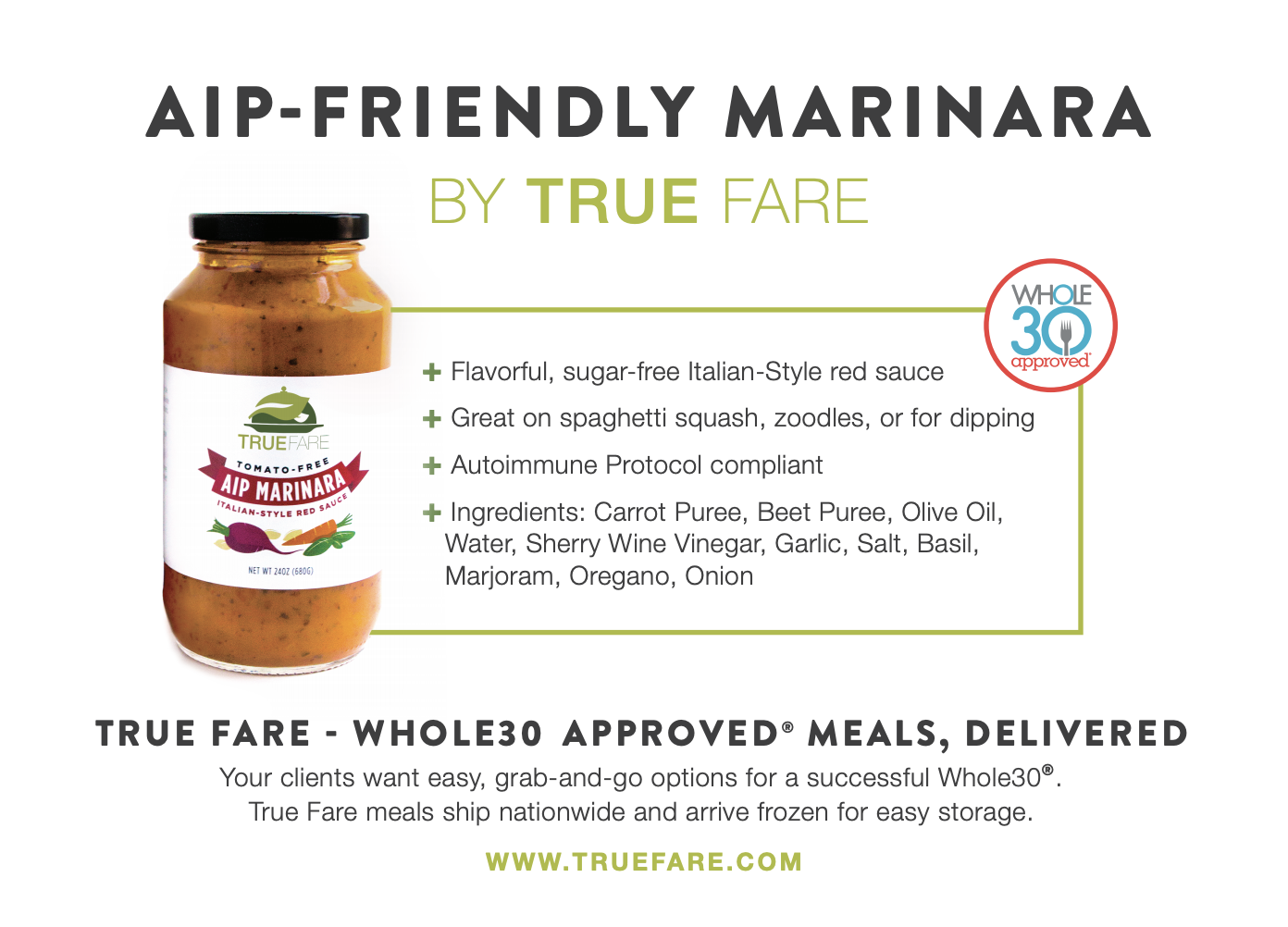 A promotional card for True Fare's AIP marinara, packaged with the sauce for distribution at at Whole30 Coach's event.