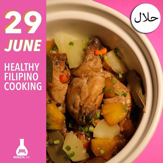 """Serve Halal authentic Filipino flavours to your dinner table and treat your palates to some spicy Adobo and a delectable Sinampalukang stew. Did we mention we're cooking this """"No S.O.S."""" style? Healthy cooking shouldn't stop you from preparing flavourful dishes! . . Can't wait to get #MadeInBenchLab? Book your seat today at www.benchlab.co by the deadline above. . . BenchLab — Where Curiosity Meets Skills 🧡"""