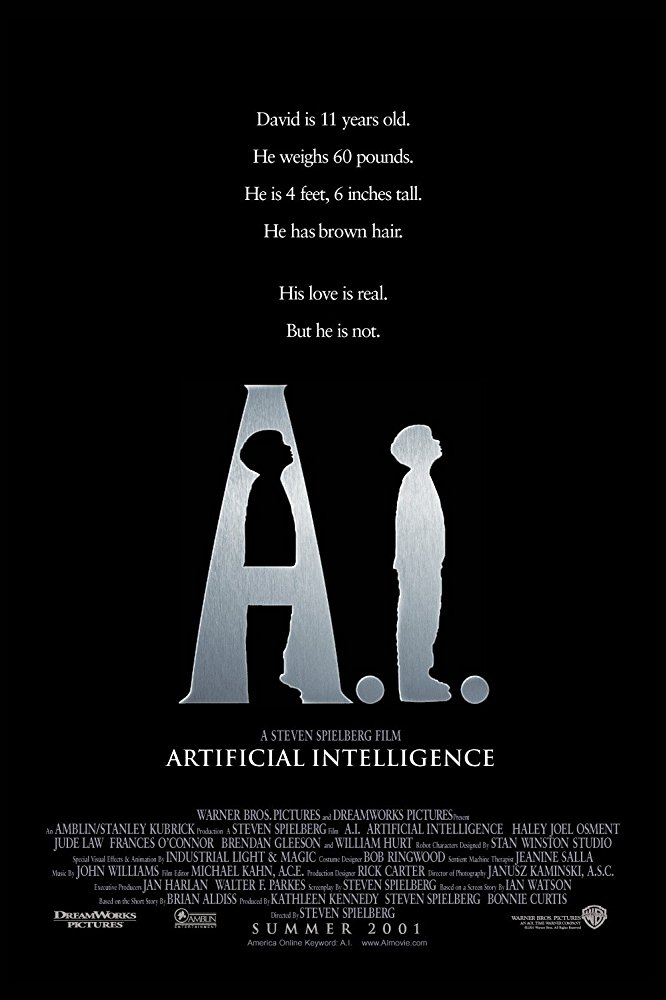 A.I. Artificial Intelligence (2001) - Directed by: Steven SpielbergStarring: Haley Joel Osment, Jude Law, Frances O'ConnorRated: PG-13 for Some Sexual Content and Violent ImagesRunning Time: 2 h 26 mTMM Score: 4 stars out of 5STRENGTHS: World Building, Themes, Writing, CharactersWEAKNESSES: Pacing, Dated Visuals