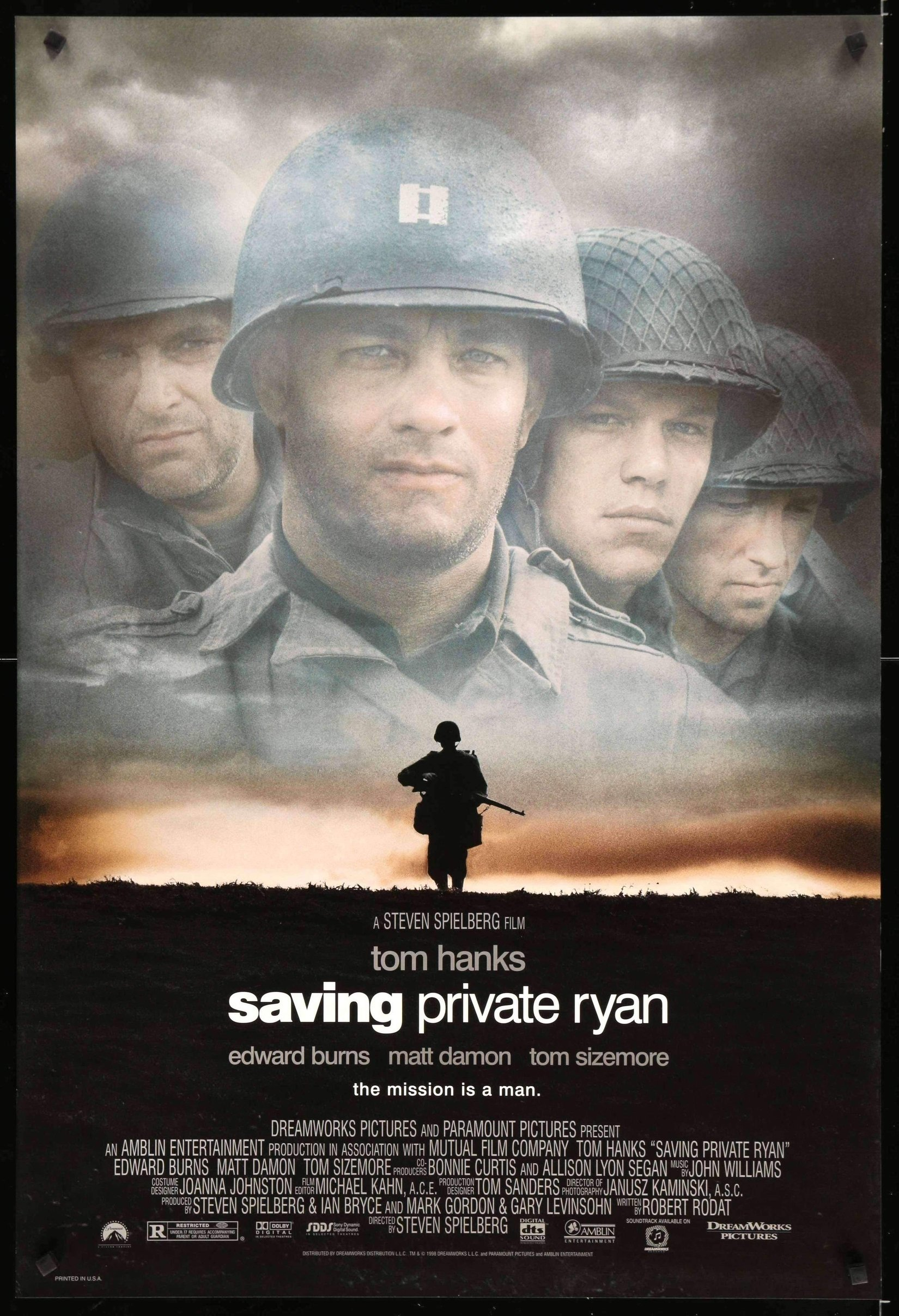 Saving Private Ryan (1998) - Directed by: Steven SpielbergStarring: Tom Hanks, Matt Damon, Tom Sizemore, Edward Burns, Barry PepperRunning Time: 2h 49mRated: RTMM Score: 5 stars out of 5STRENGTHS: EverythingWEAKNESSES: Maaaaaaybe some pacing issues? Maybe?