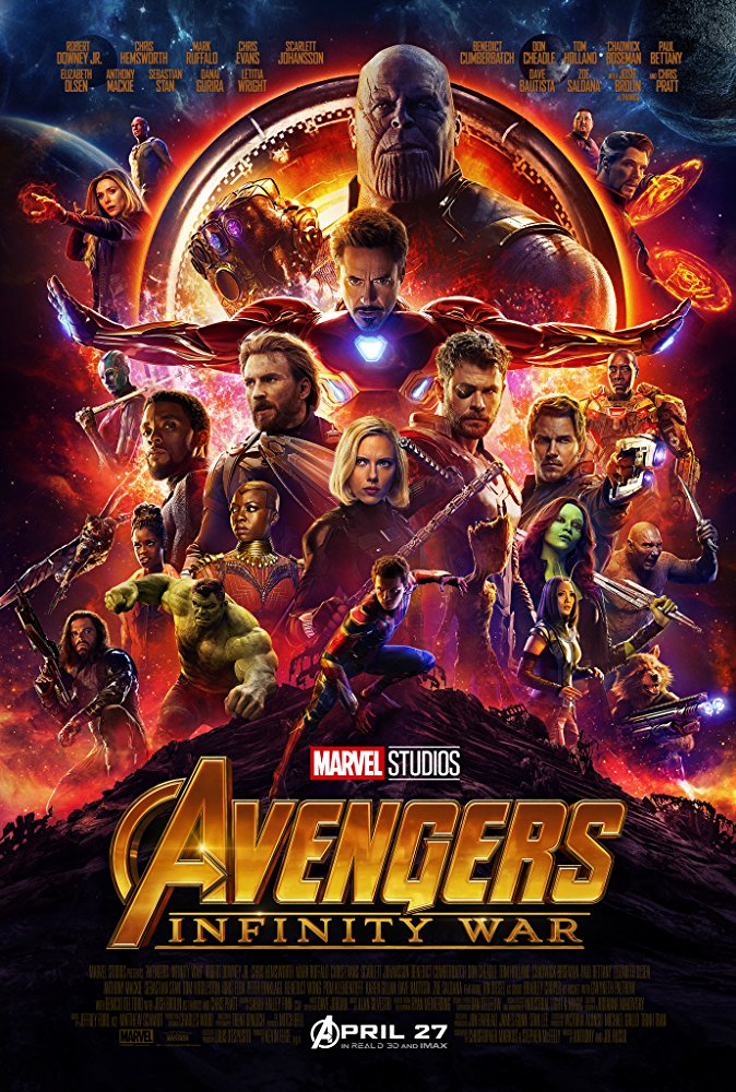 Avengers: Infinity War (2018) - Directed by: Anthony Russo, Joe RussoStarring: Robert Downey Jr., Josh Brolin, Chris Hemsworth, Chris Evans, Benedict Cumberbatch, Tom Holland, Chadwick Boseman... (Too many to list)Rated: PG-13 for Intense Sequence of Sci-Fi Violence and Action Throughout.Running Time: 2 h 29 mTMM Score: 4 stars out of 5STRENGTHS: Visual Effects, Writing, Pacing, StakesWEAKNESSES: Also Stakes, Alienates Viewers That Haven't Seen All Marvel Movies